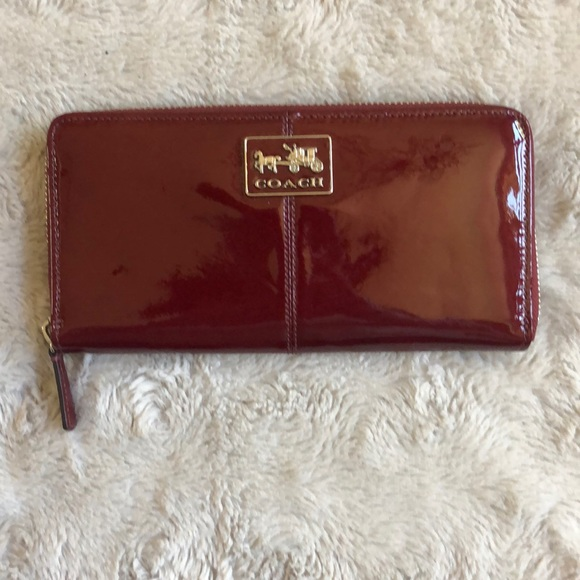 Coach Handbags - Red Patent Leather Coach Wallet